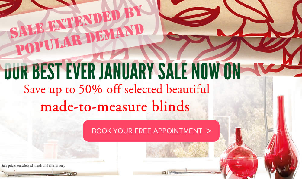 Image of roman blind with january Sale promotion