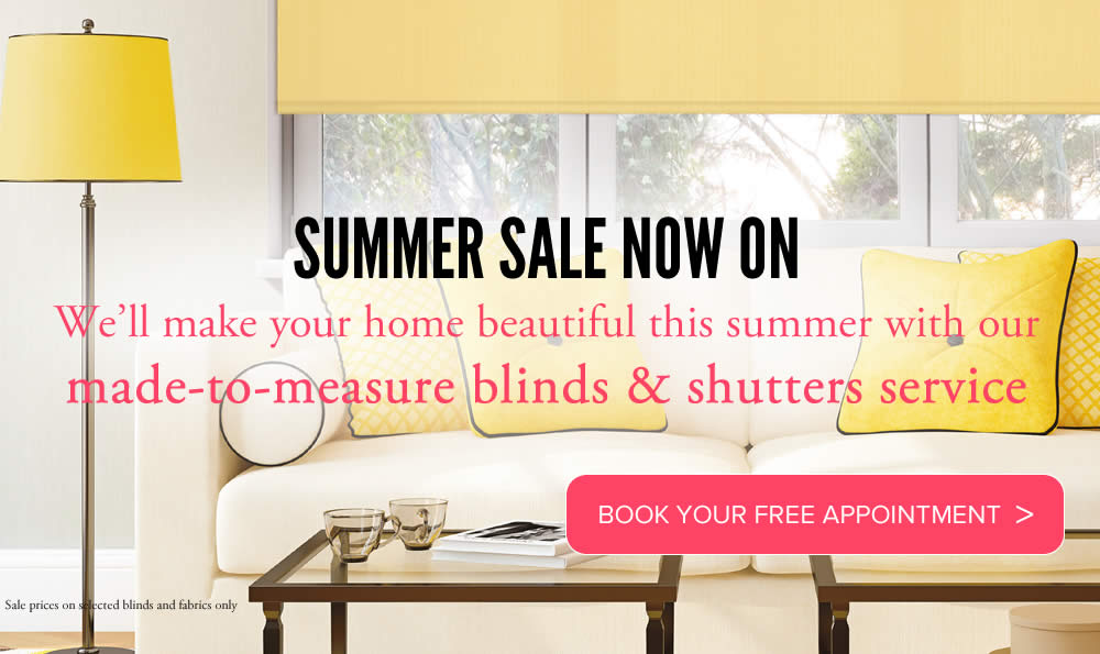 Image of made to measure roller blinds for summer Sale promotion